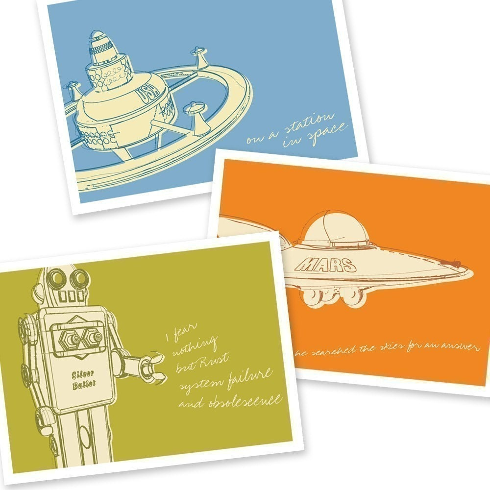 Lunastrella Robot, Space Station and Flying Saucer 8x10 Set of Three