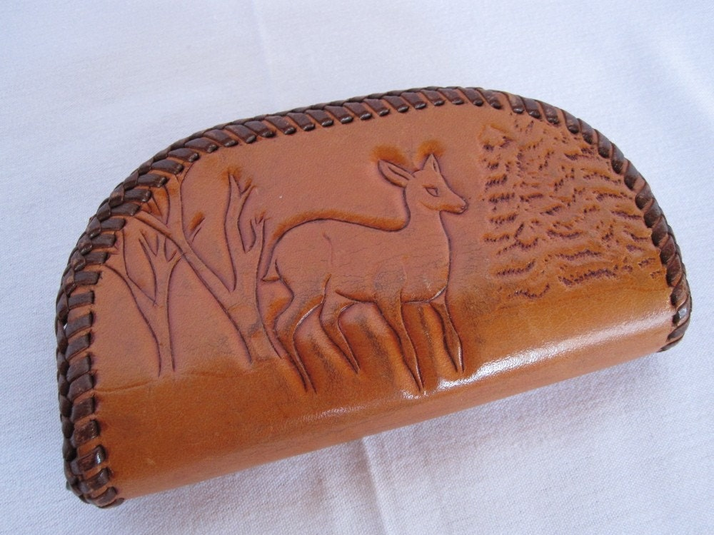 Vintage 60s LITTLE DEER Tooled Leather Coin Purse or Wallet