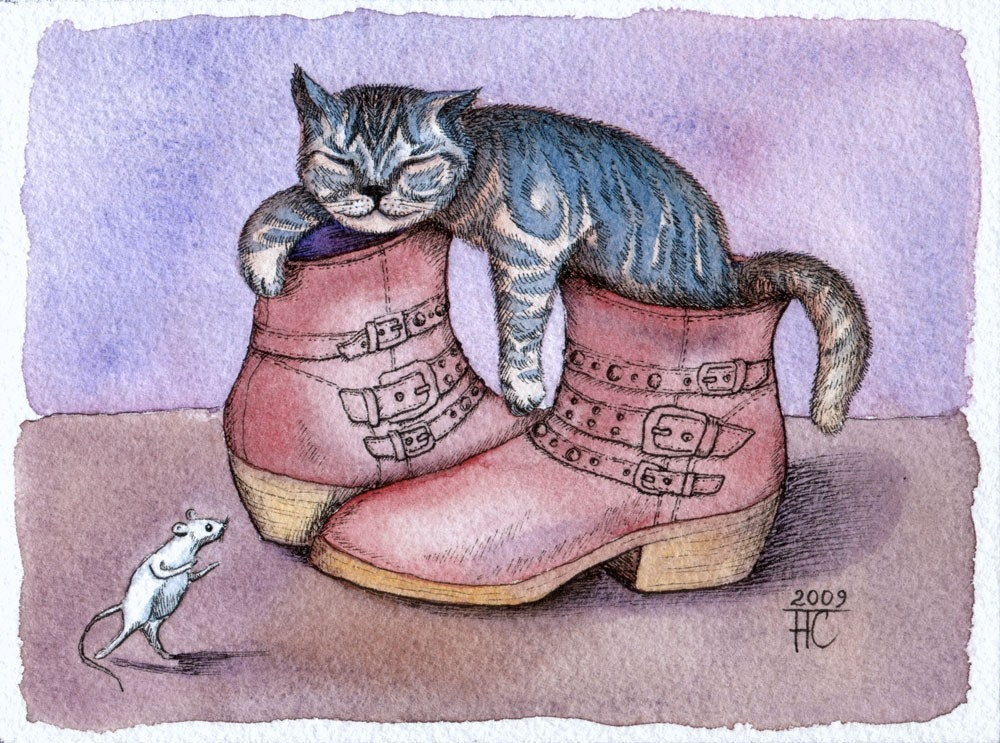 Puss in Boots, original watercolor