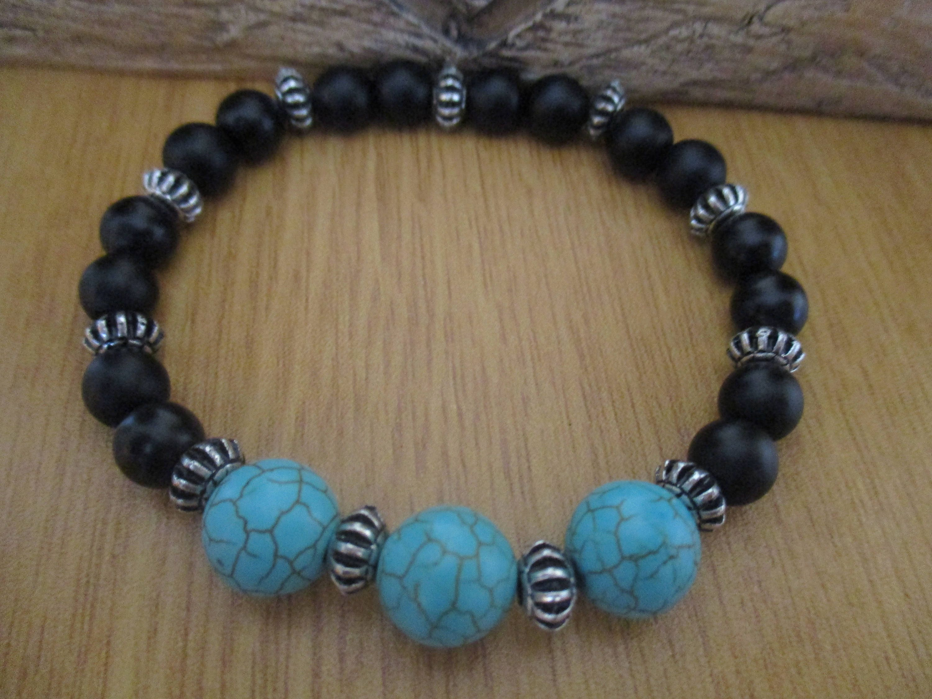 Mens Bracelet with Blue Turquoise Gemstone Beads Black Frosted Onyx Gemstone Beads and Tibetan Spacers
