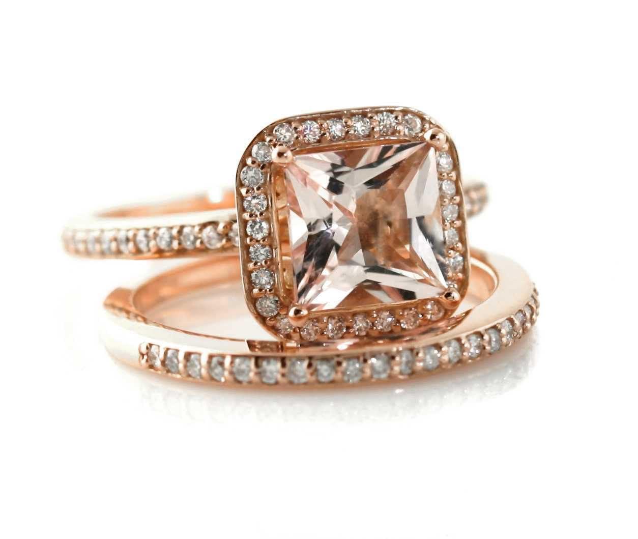 14K Rose Gold Morganite Wedding Set Engagement Ring & by RareEarth