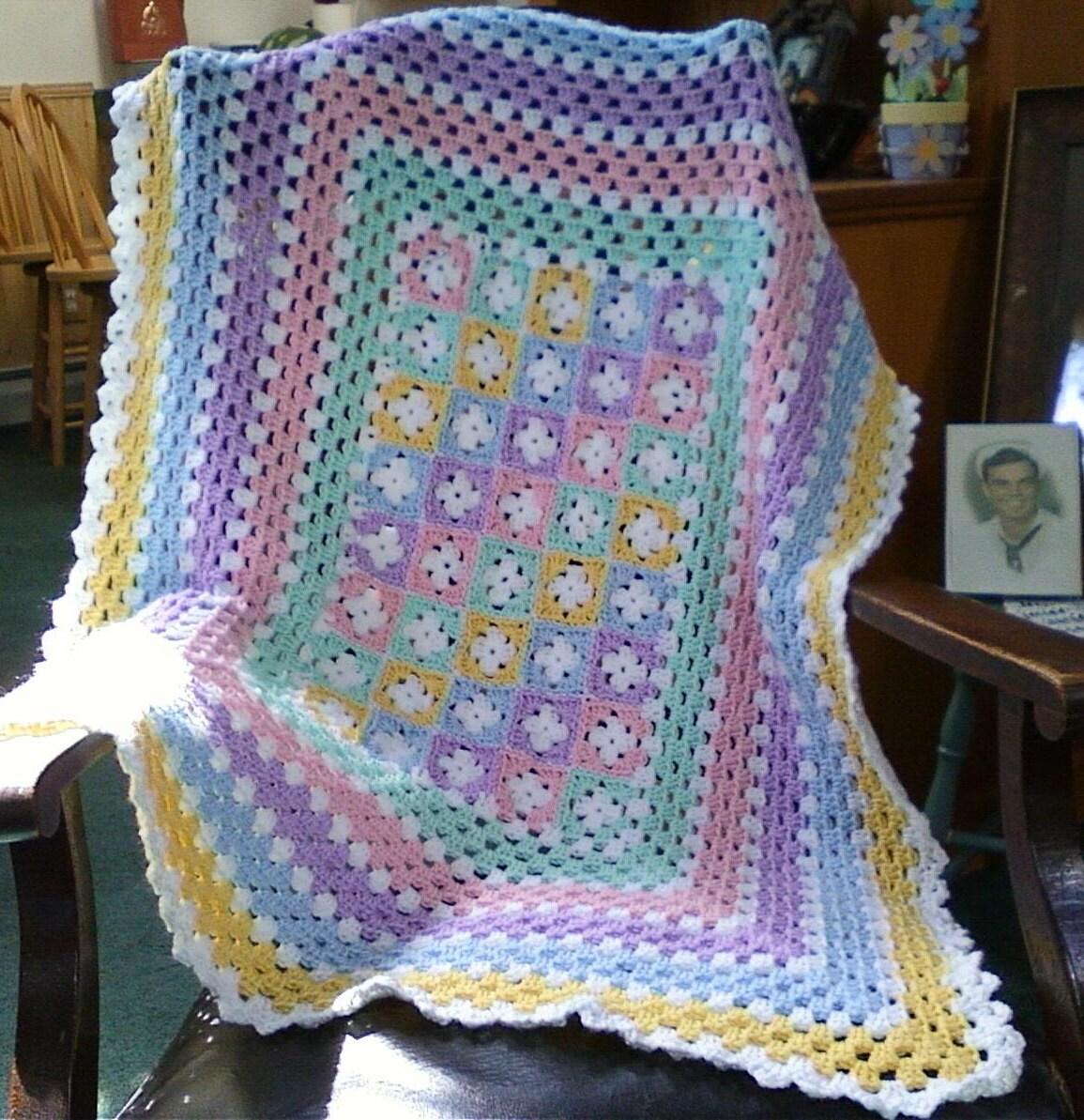 Baby Crochet Patterns Etsy : Pastel Crochet Baby Afghan by SleepyHollowCrochet on Etsy