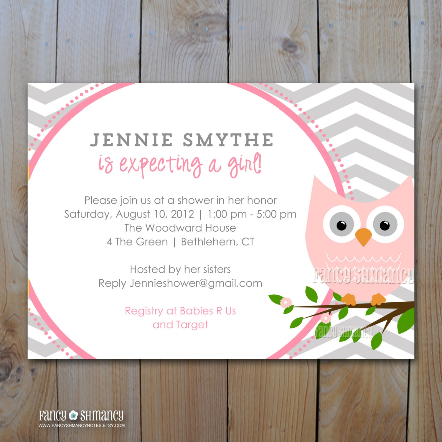 owl baby shower invitation grey and pink by fancyshmancynotes