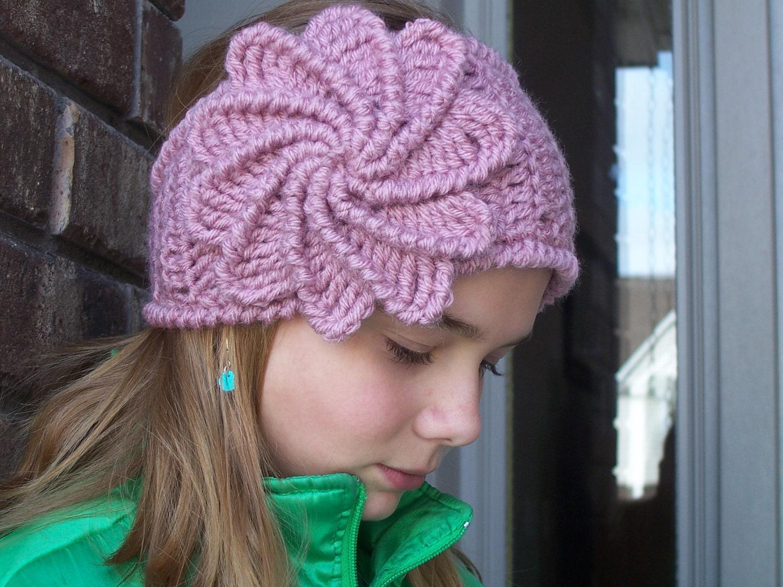 Knitting Pattern Headband With Button : Crochet Spiral Flower Headband W/Button Closure