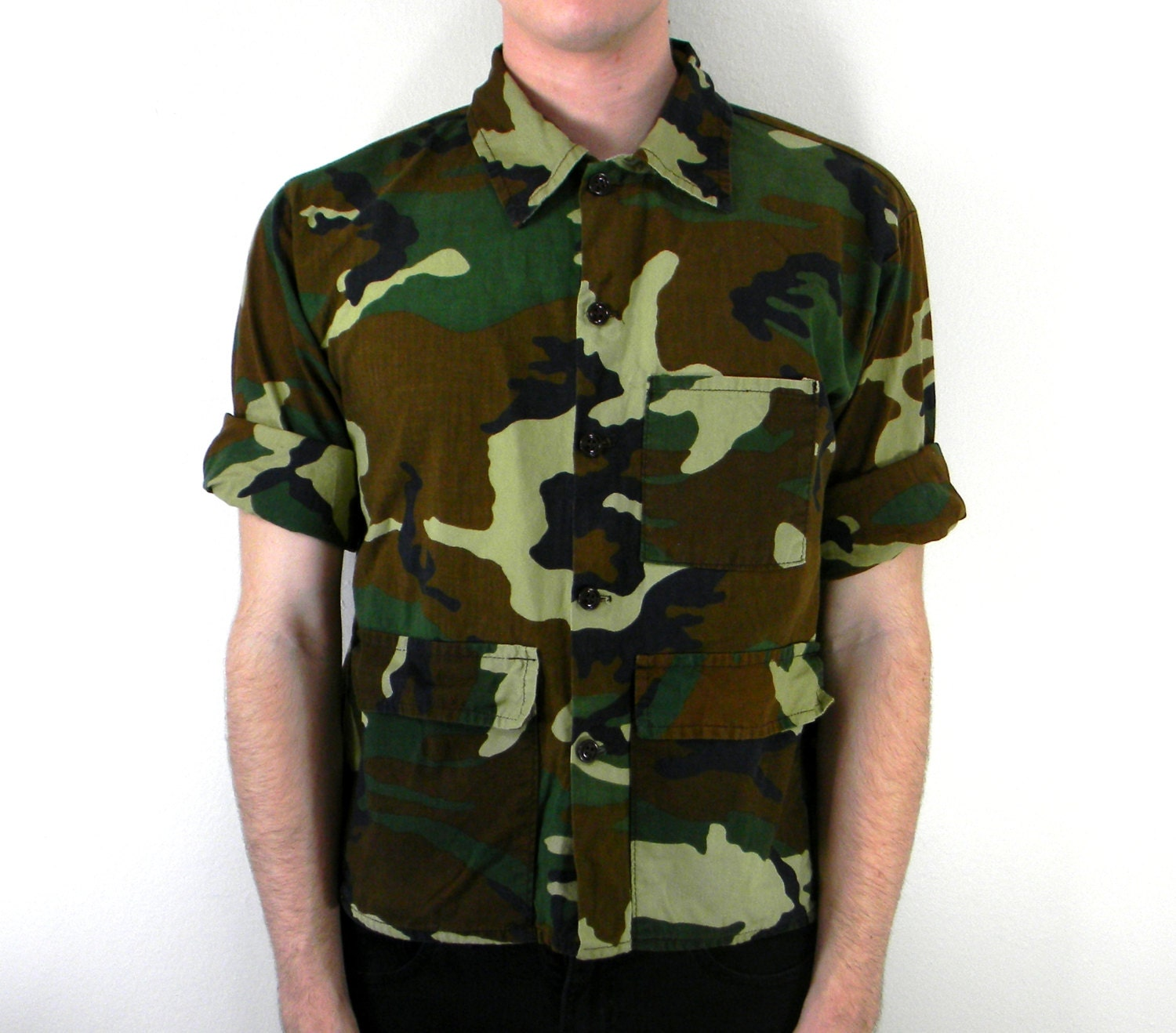 Camo Dude 90s Vintage Men 39 S Button Up Shirt By