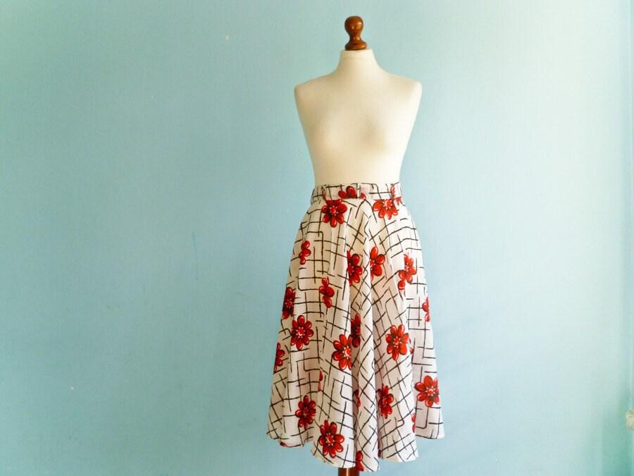 Vintage floral full circle skirt / red flowers on white black stripes / high waisted / midi length skirt / small medium - moonandsoda