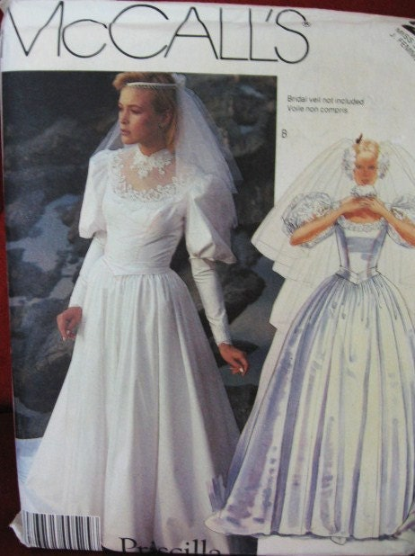 McCalls 1980s Vintage Retro Wedding Dress Pattern Uncut 2341 Size 20