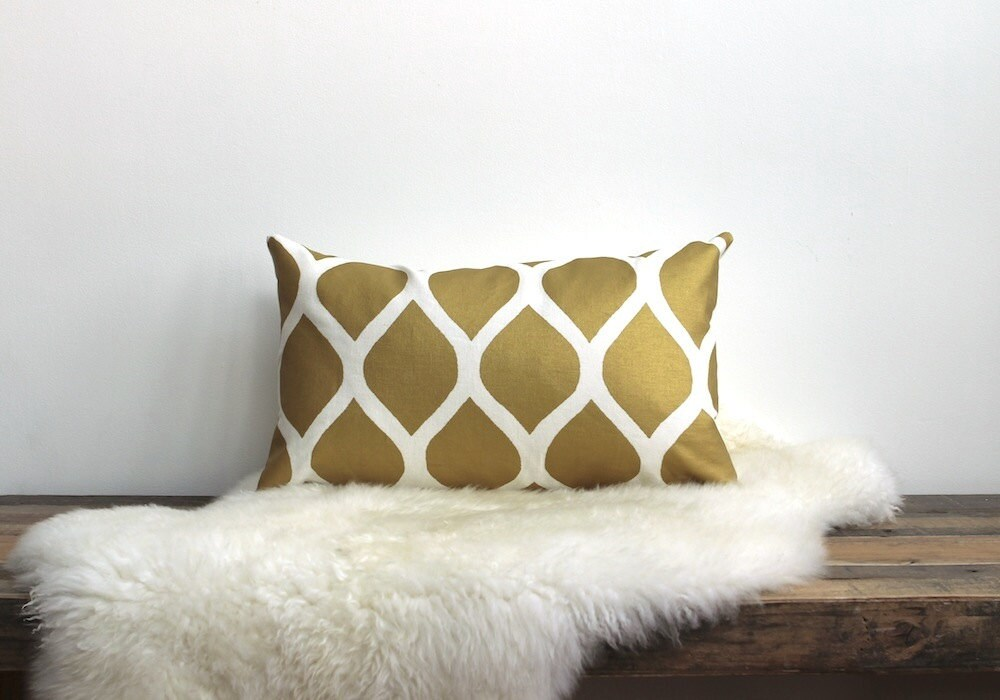 Aya pillow cover hand printed in metallic gold on white organic cotton- hemp 12x21 - ChaneeVijayTextiles