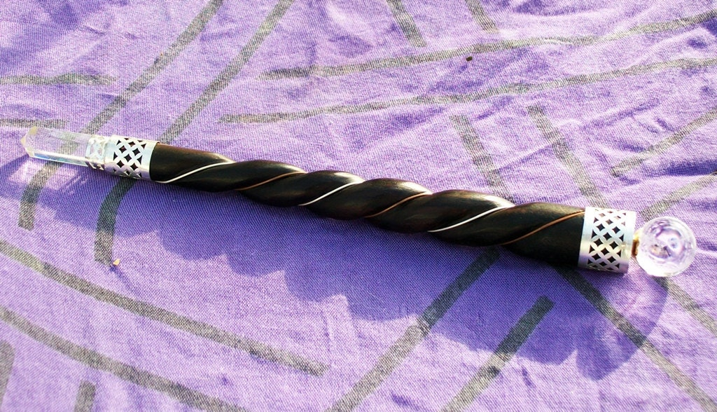 Twisted Wood Crystal Quartz Healing Wand
