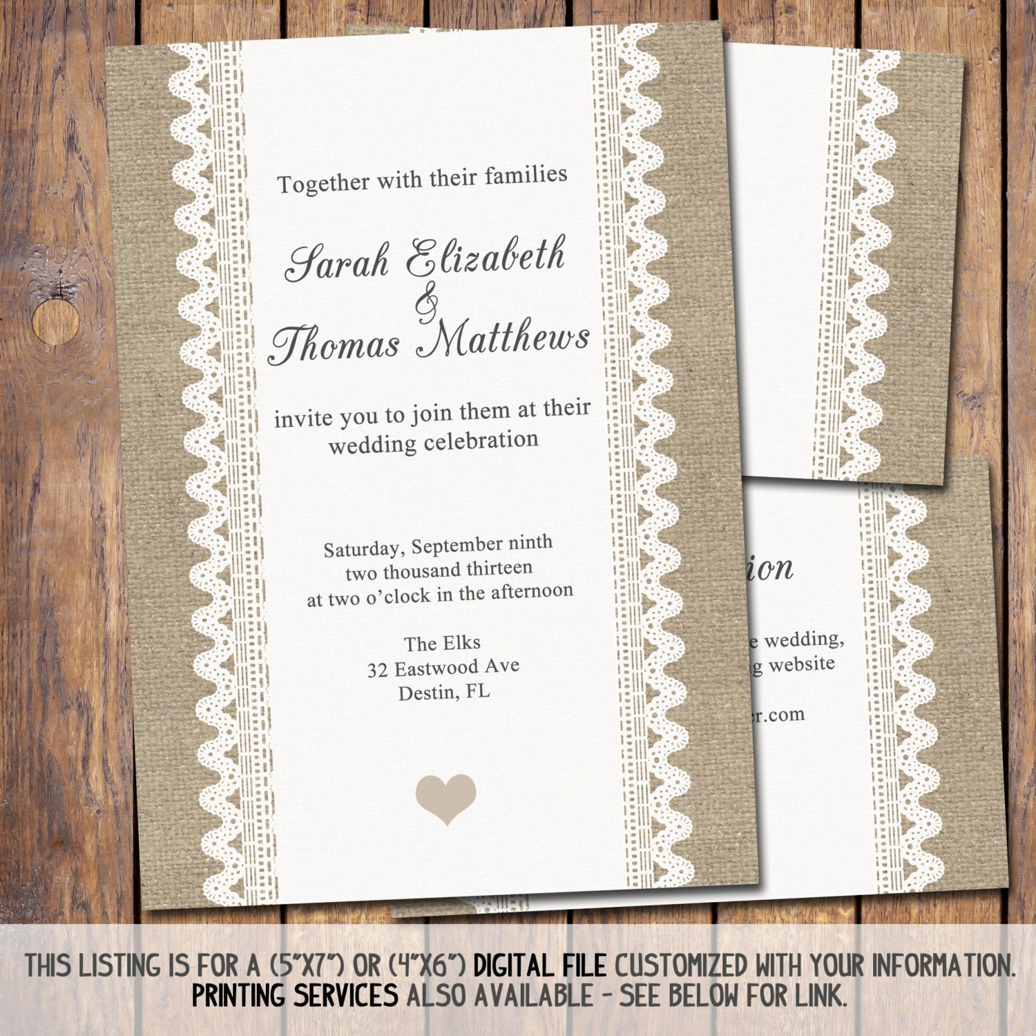 items similar to burlap and lace wedding invitation 5x7 wedding template diy printable. Black Bedroom Furniture Sets. Home Design Ideas