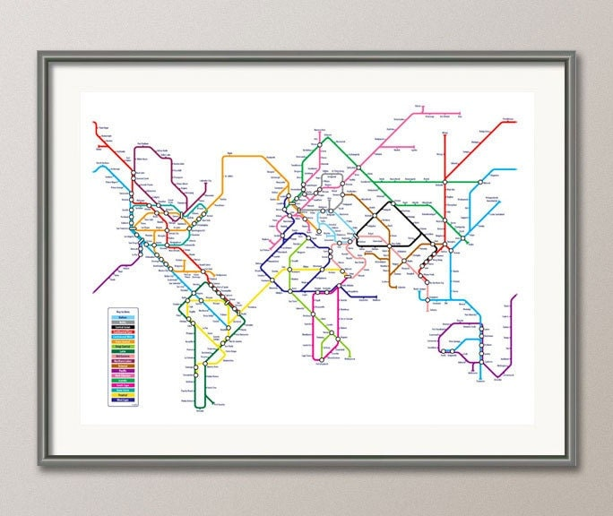 World as a Tube Map on Etsy