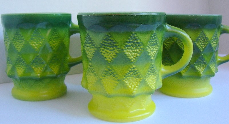 Green glass coffee cups