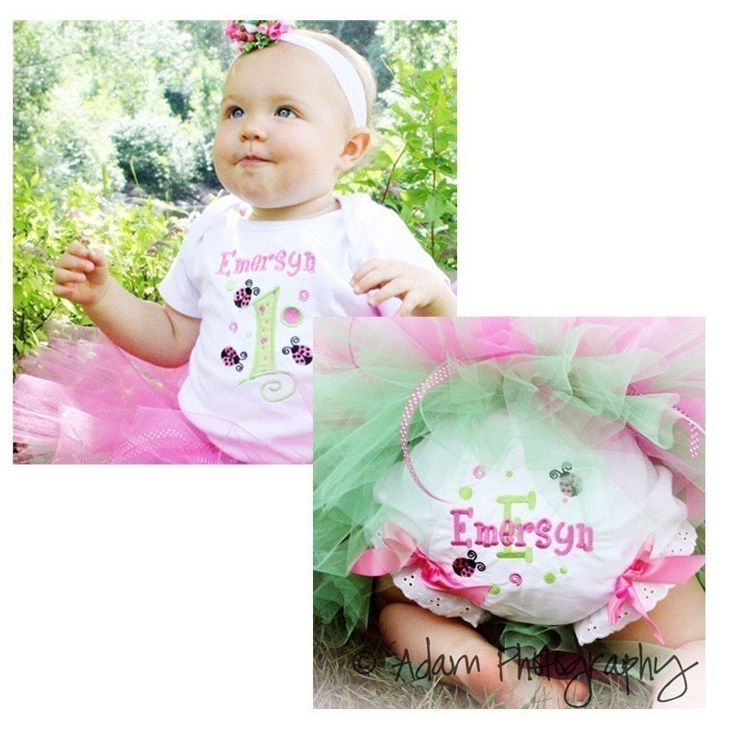 Pink and Lime First Birthday Ladybug Shirt or Onesie and matching bloomers