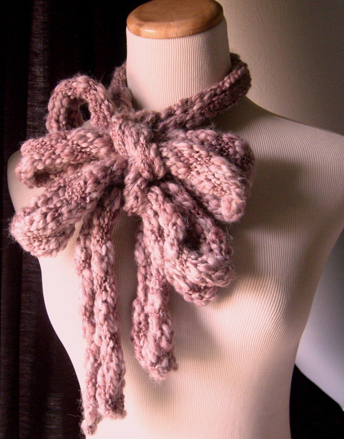 The Amazing Chunky SKINNY Scarf/Extra LONG - In DUSTY MUAVE
