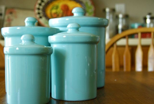 teal ceramic canisters 4 by sundayhatch on etsy retro kitchen my grandmother teal canister set 3pce
