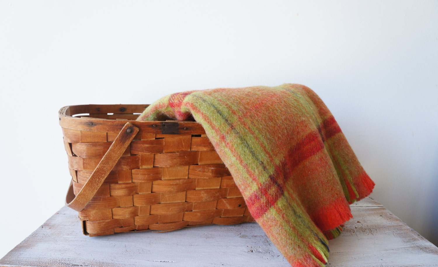 Antique Large Basket Folding Handles, Large Woven Wood Basket, Market Basket,  Rustic Splint Basket, Country Rustic Wedding Decor, Fall - RedHillHome
