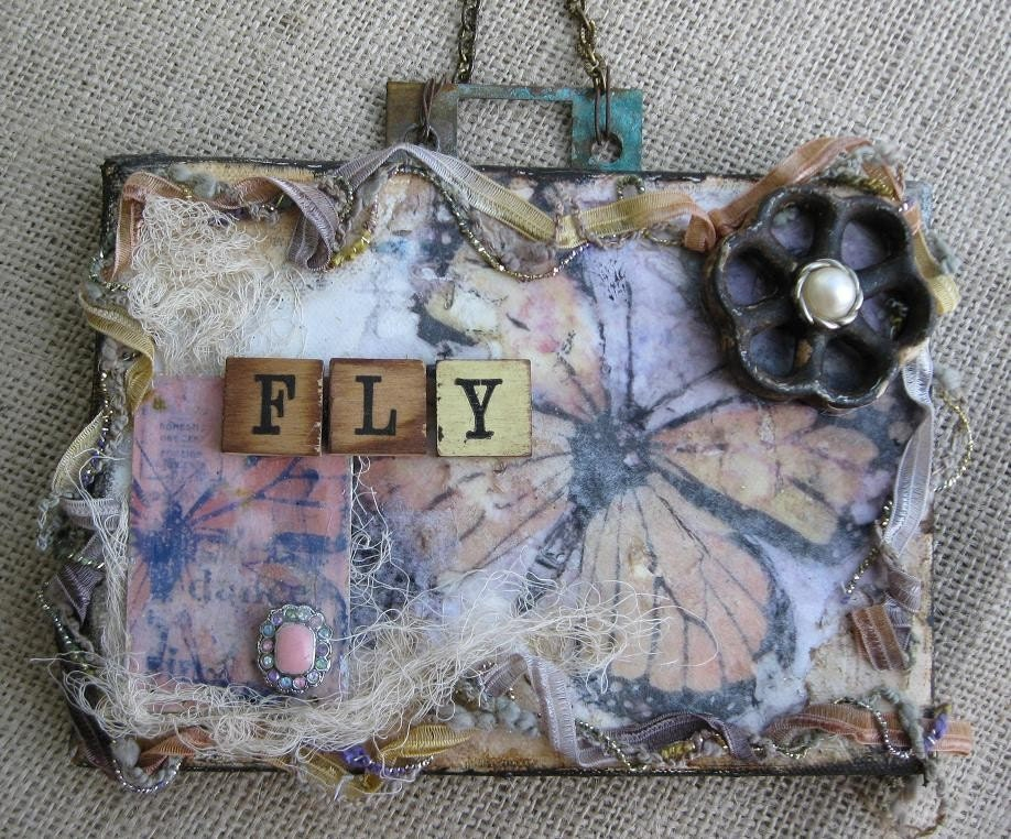 FLY Butterfly ... Vintage Shabby Fabric & Fiber Collage Assemblage - GenieHarlow