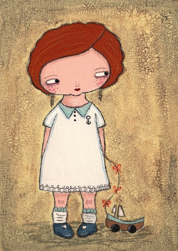 Mixed media original painting - Clara (5x7 inches on canvas board)