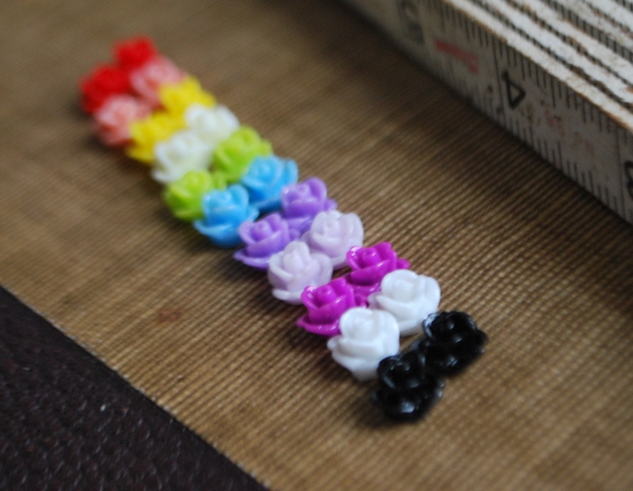 22 Teeny Tiny Rose Flower Flat Back Plastic Cabochons - Sample Pack - Multi Color - 8.5mm - MIX A