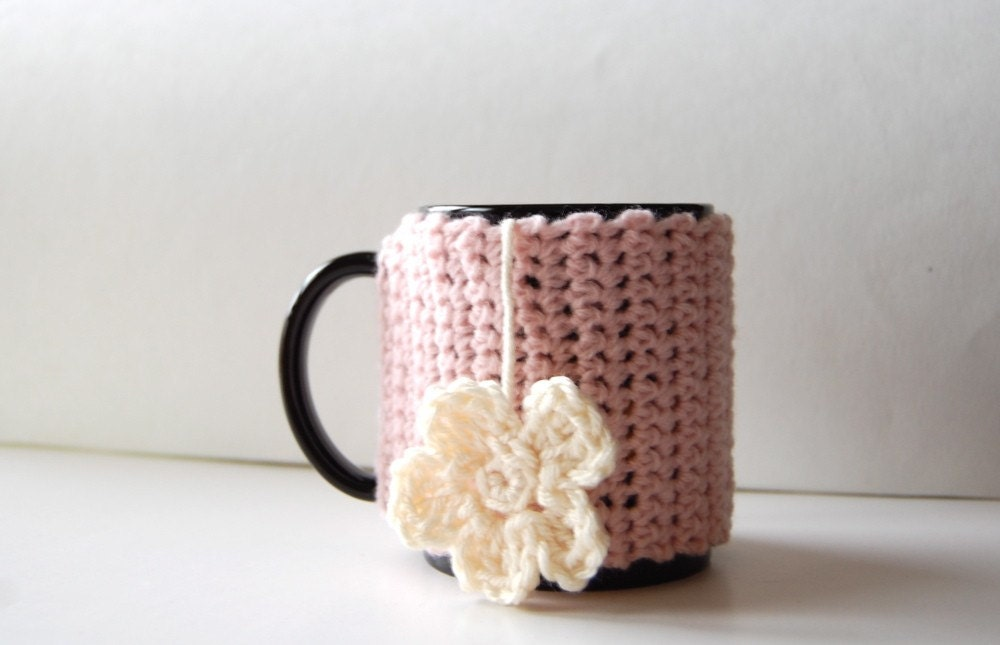 Tea Mug Cozy with Flower by KnitStorm
