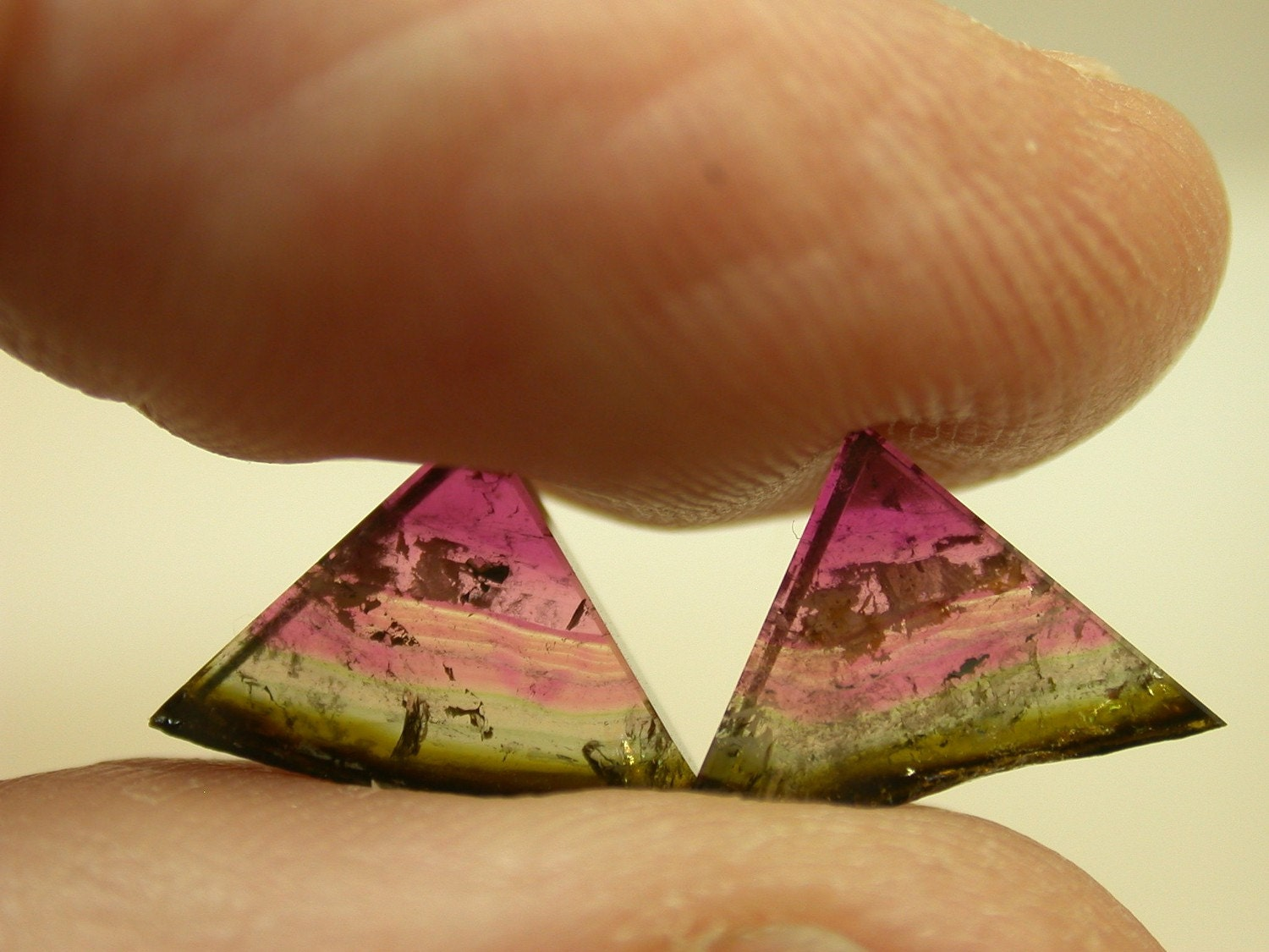 VINTAGE Watermelon Tourmaline Crystal Triangle slices 4.38 cts FG87