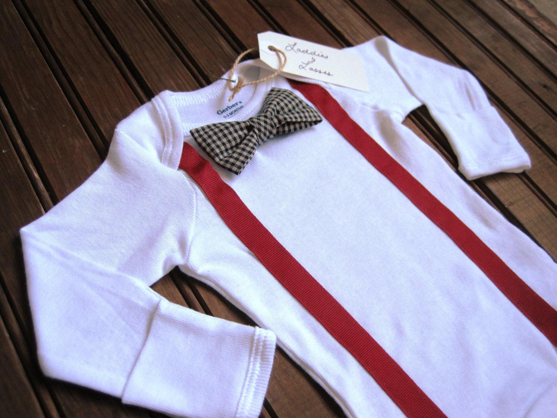 Long Sleeve Necktie or Bow Tie Onesie with Suspenders, Suspender Onesie, Bow Tie Onesie, Baby Suspenders, Baby Bowtie Onesie, Bowtie Onesie