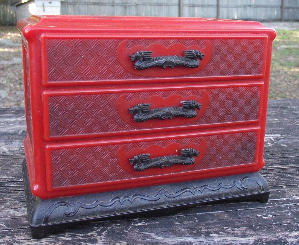 Rare Red Vintage Asian Jewelry Chest of Celluloid with Black Handles