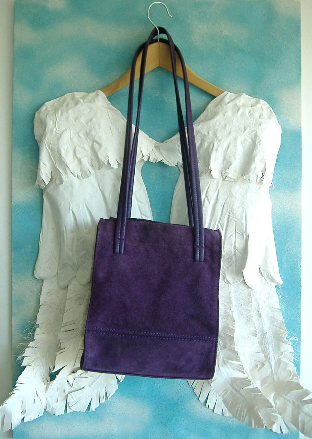 RESERVED FOR IsabellaGolightly SALE DEEP PURPLE BAG 80s Liz Claiborne Suede Shoulder Bag in Purple