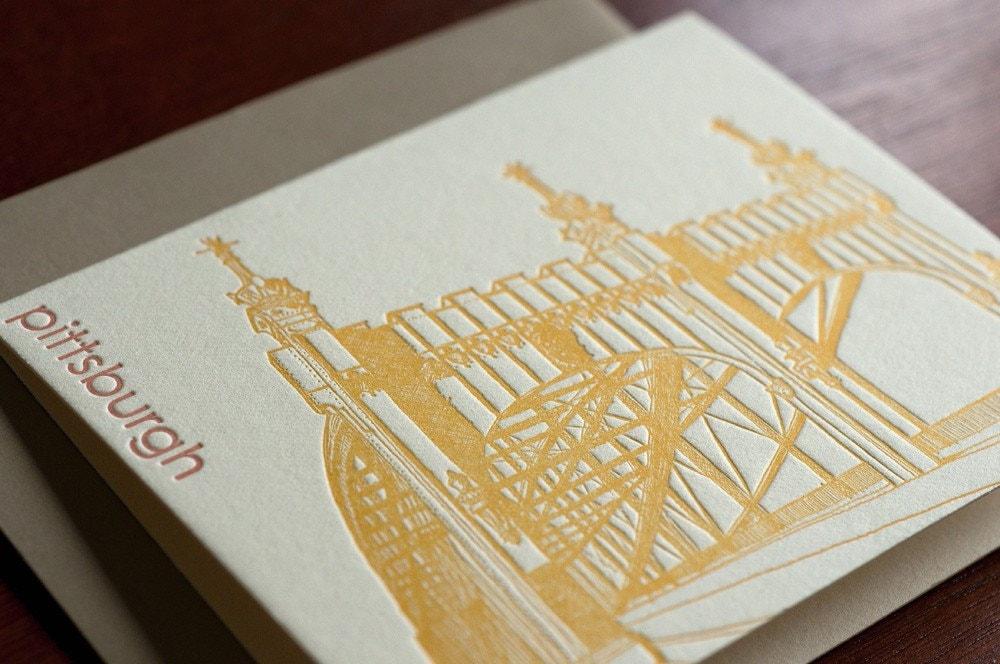 Smithfield Street Bridge letterpress notecard