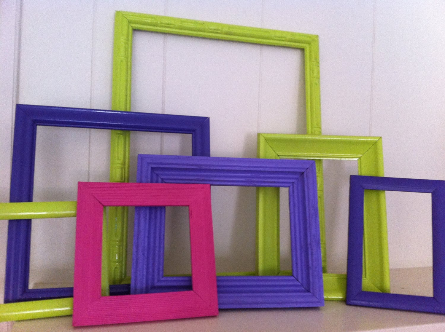 Vintage Upcycled Painted Frame Set of 7 Home Decor in Lime Grape Pink Lavender