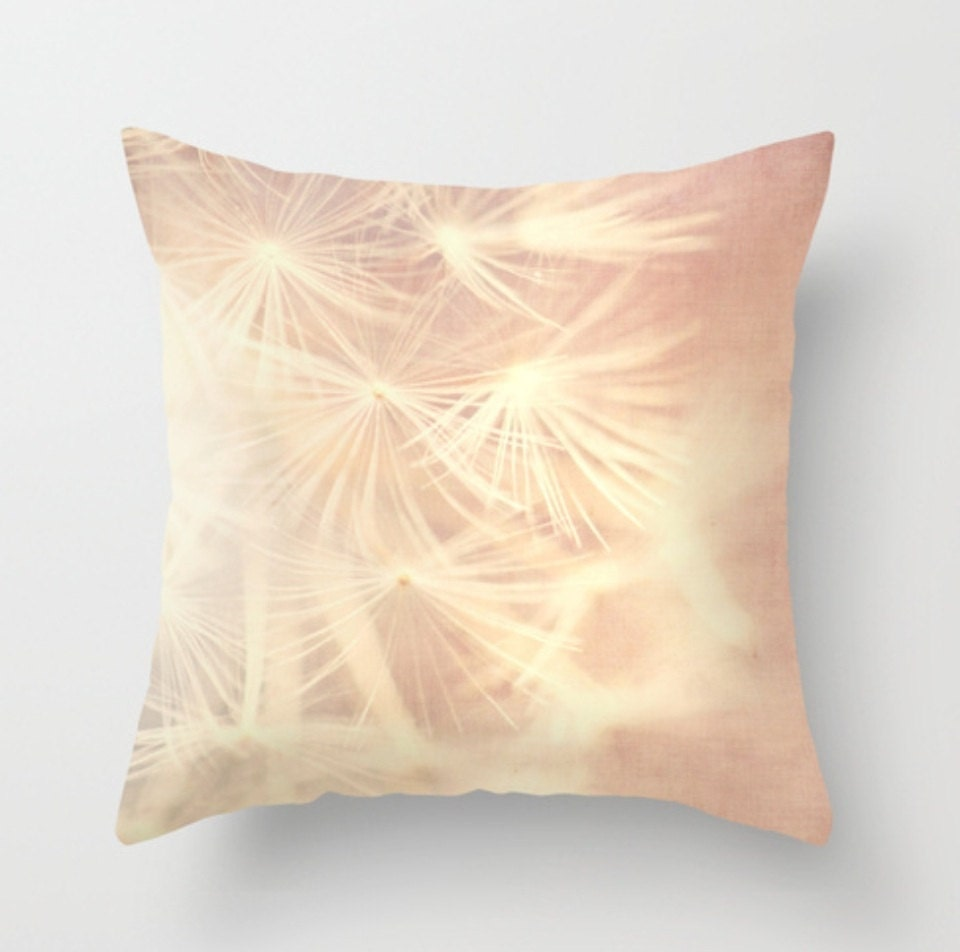 pillow cover, babys nursery decor, dandelion seeds girls room pink white purple home decor, 16x16 18x18 throw pillow case, nature bedding - sixthandmain