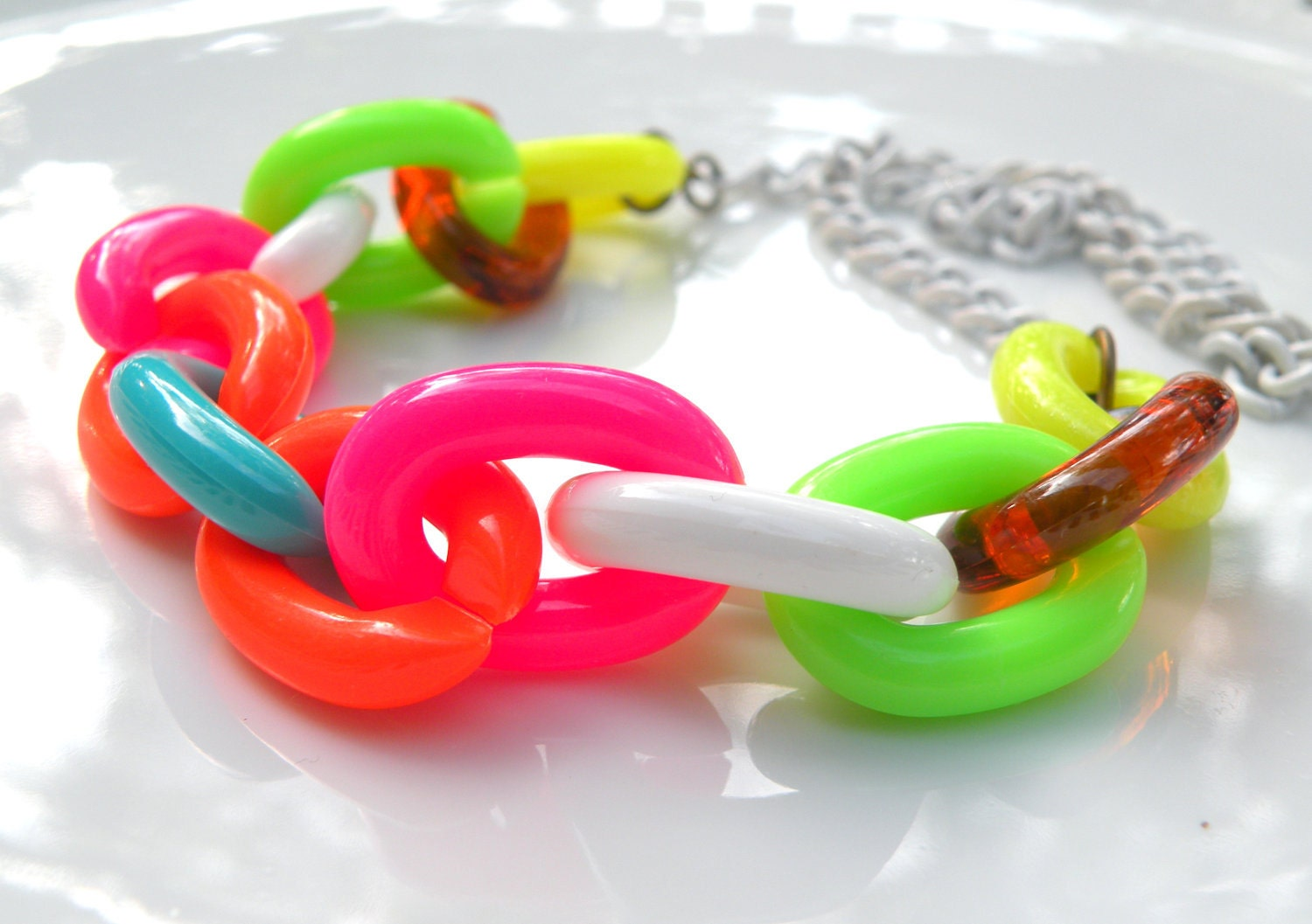 Vintage Plastic Retro Chain Necklace, Neon, Vintage Chain, Vintage Brass, Handmade Necklace
