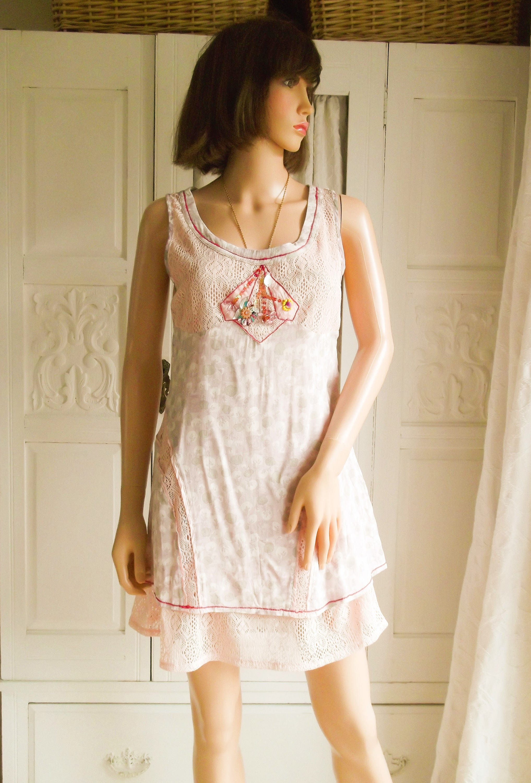 Unworn Pale pink lace dress Mini Dress Summer Boho dress Festival Summer Boho pastel Wedding dress Pastel shift dress Pastel floral dress