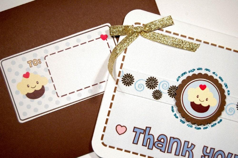 Thank You Card - 3D Kawaii Cupcake