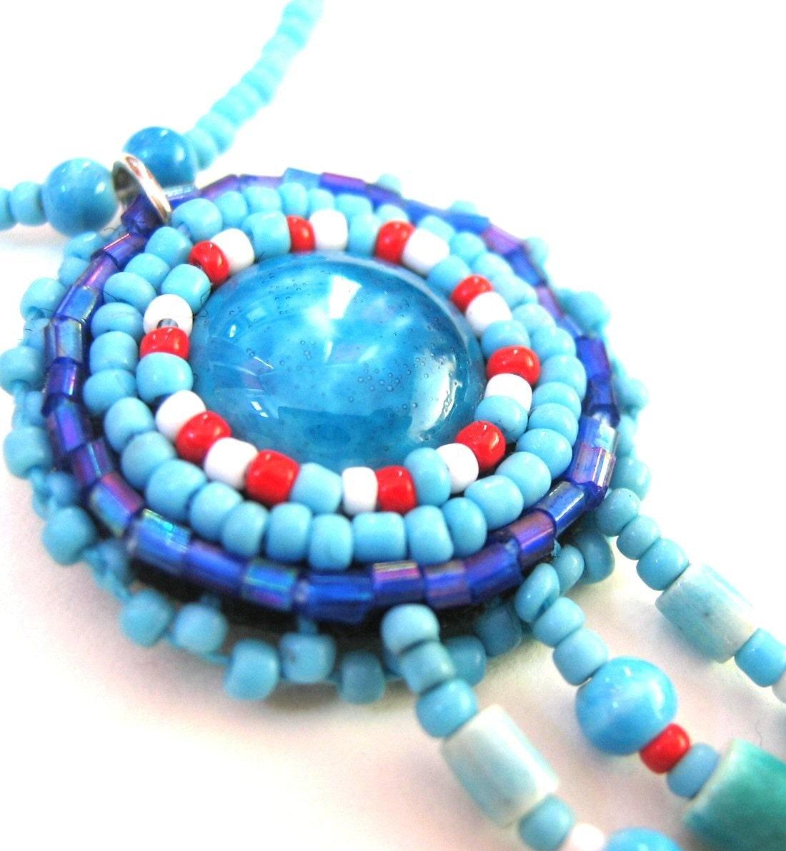 Bead làm việc với hạt vòng cổ tay thêu - Turquoise