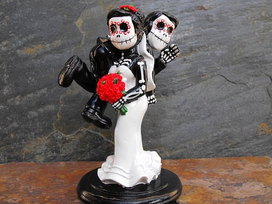 day of the dead wedding cake topper funny couple