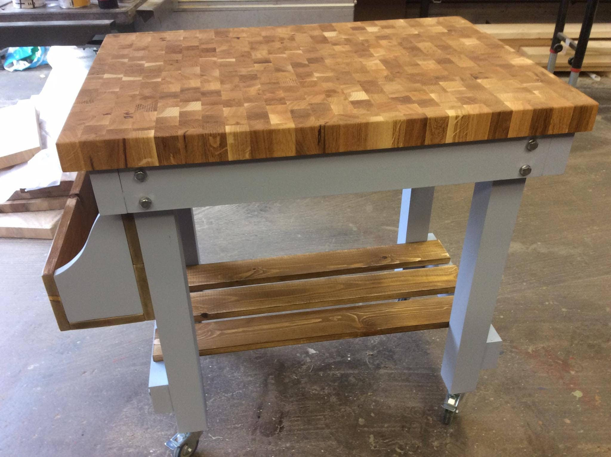 Solid End Grain Oak Butchers Block Kitchen Island