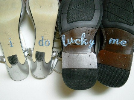 His & Hers I DO Shoe Stickers in Blue Glitter  Something Blue for Your shoe I Do for you and Lucky Me for Him