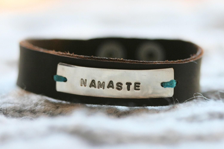 Handmade Namaste Silver  Leather Bracelet...Yoga...Buddha...Free Shipping