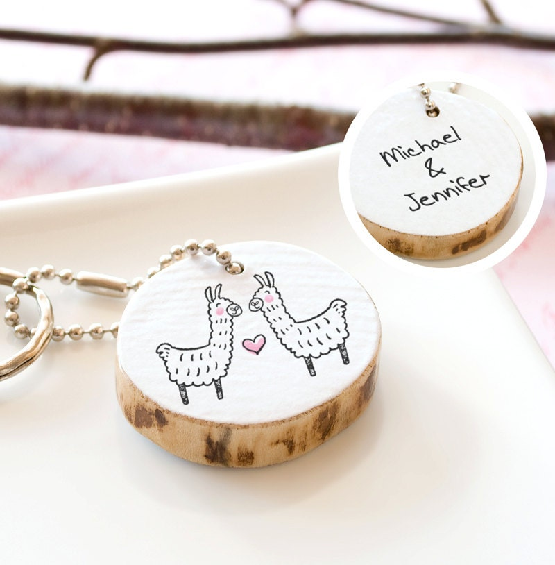 Personalized Couple Keychain Llama Cute Drawing By