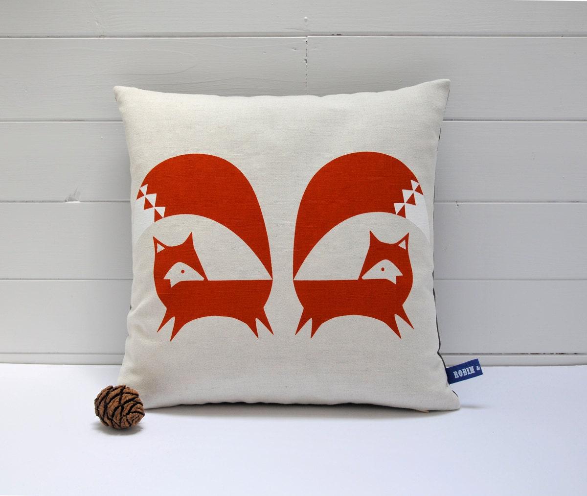 Hand Screen Printed Fox Cushion Cover in Burnt Orange