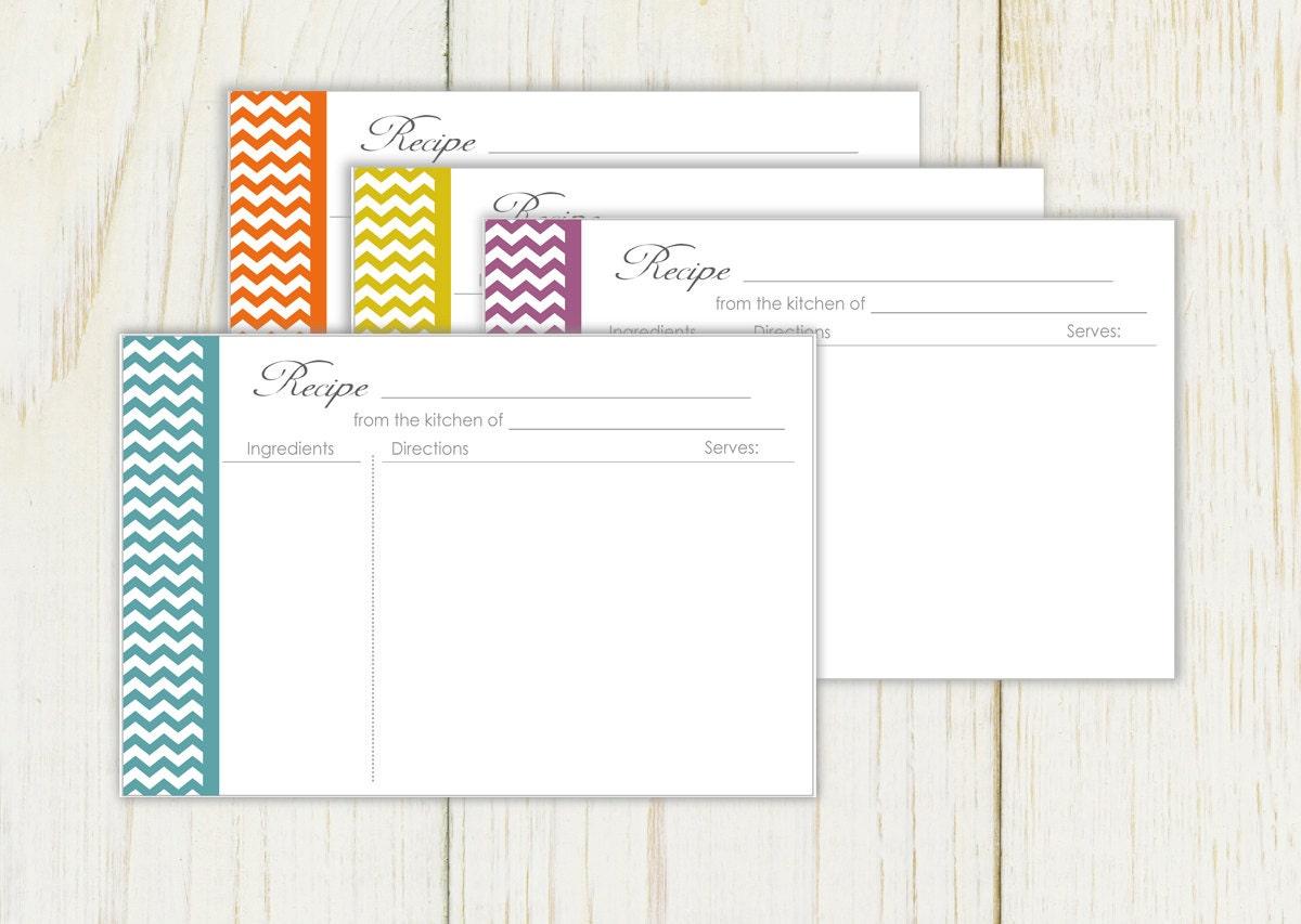 chevron recipe cards printable 4x6 type  u0026 print by