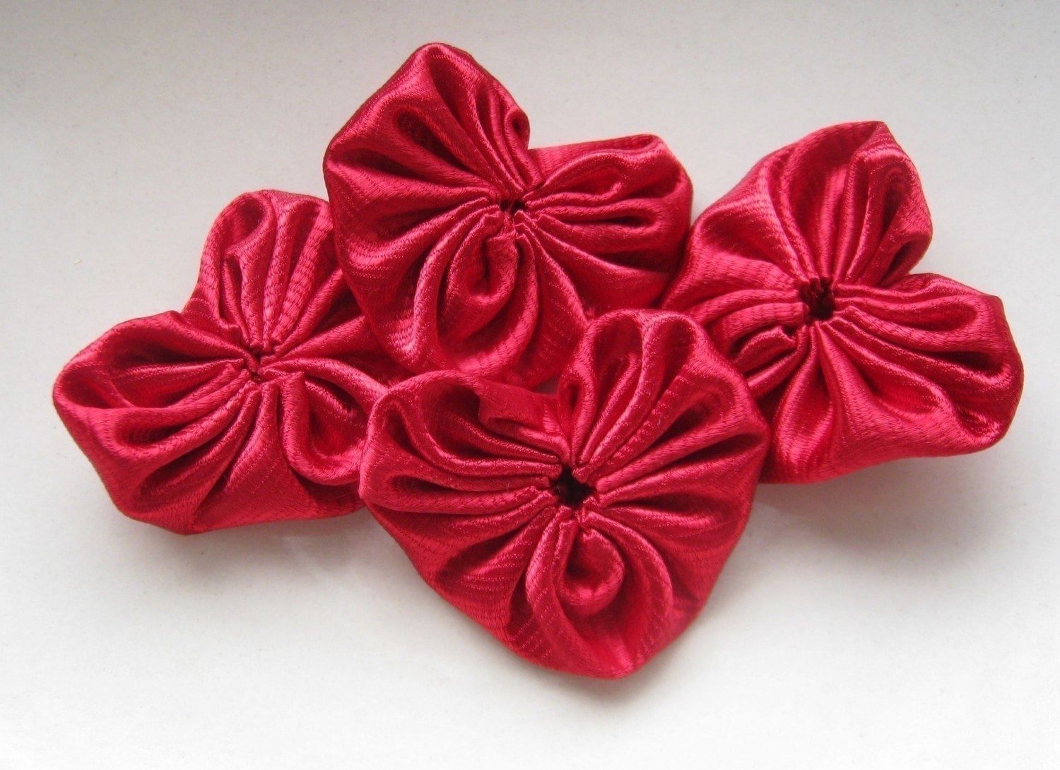 Handmade Red Satin Heart Appliques  4 pieces by ILoveYoYo on Etsy from etsy.com