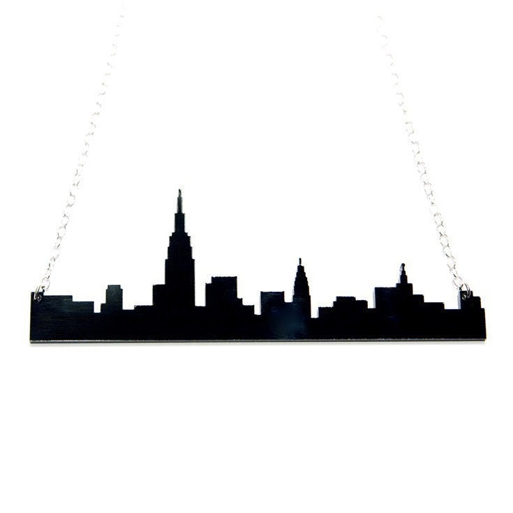new york city NYC skyline acrylic necklace