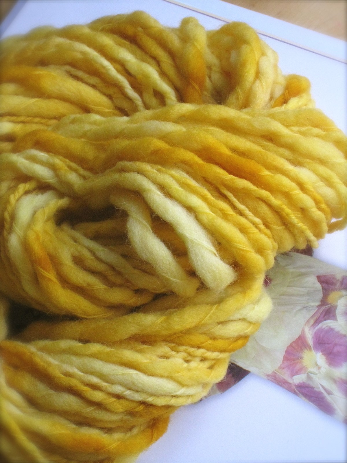 CITRINE Thick and Thin Semi Solid - Handpainted Bulky Wool Yarn by Pancake and Lulu