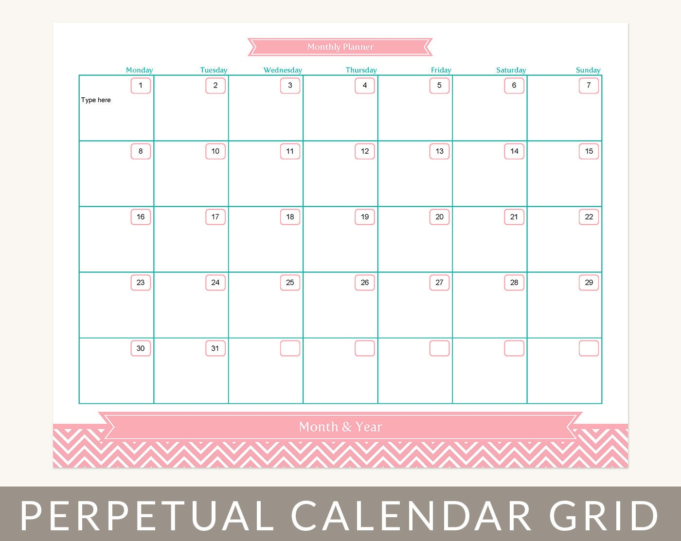 Calendar Planner Grid, Month at a Glance Printable, Editable PDF, For ...