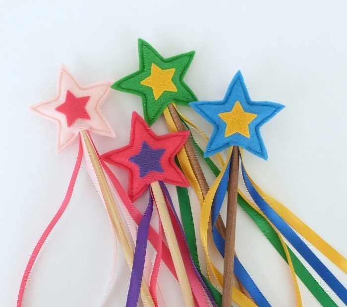 Felt Star Wand, Princess Wand, Superhero Wand -- MADE TO ORDER - TwoLittleBluebirds