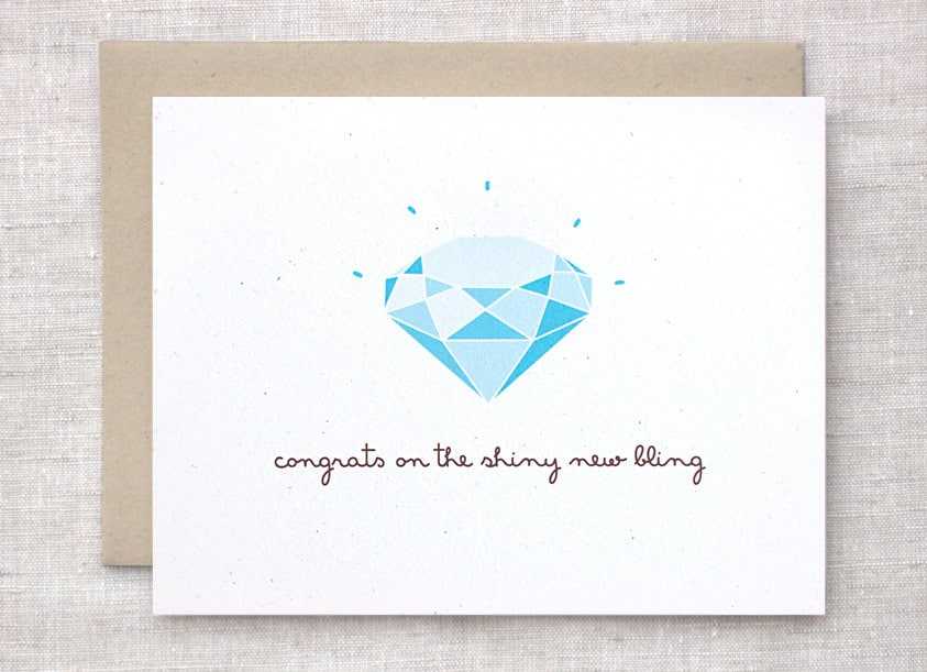 funny engagement card congratulations card by happydappybits