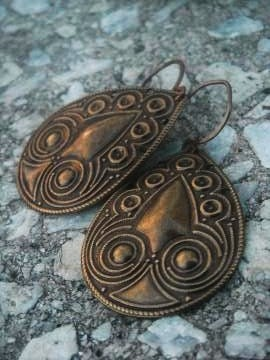 Brass Ethnic Teardrop Earrings -Tribal-Afrocentric-Owl- Free Shipping