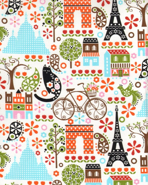 vintage style april in paris fabric french eiffel tower ebay. Black Bedroom Furniture Sets. Home Design Ideas